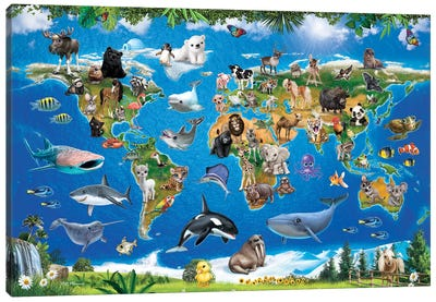 Animal Club World Map Canvas Art Print