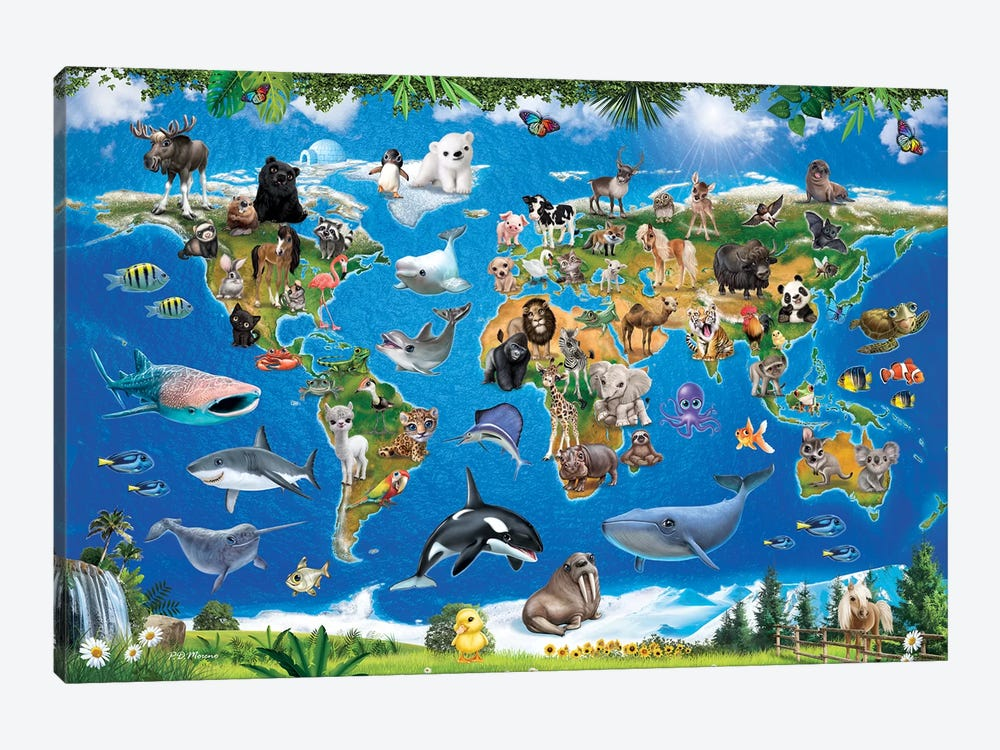 Animal Club World Map by P.D. Moreno 1-piece Canvas Artwork