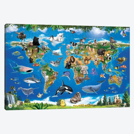 Animal Club World Map Canvas Print #PDM1} by P.D. Moreno Canvas Art Print
