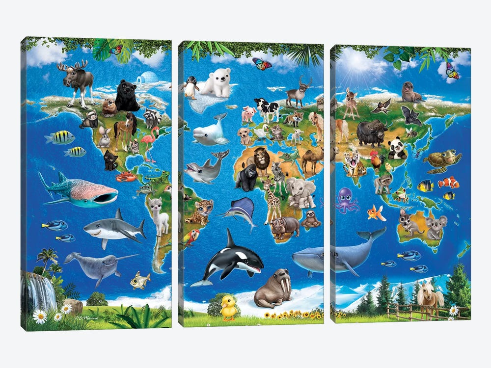 Animal Club World Map by P.D. Moreno 3-piece Canvas Art