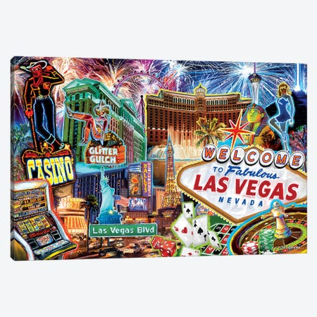 Las Vegas Pop Art Canvas Print #PDM30} by P.D. Moreno Canvas Art
