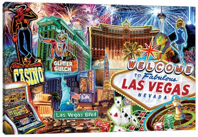 Las Vegas Pop Art Canvas Art Print