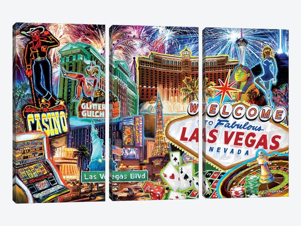Las Vegas Pop Art by P.D. Moreno 3-piece Canvas Wall Art