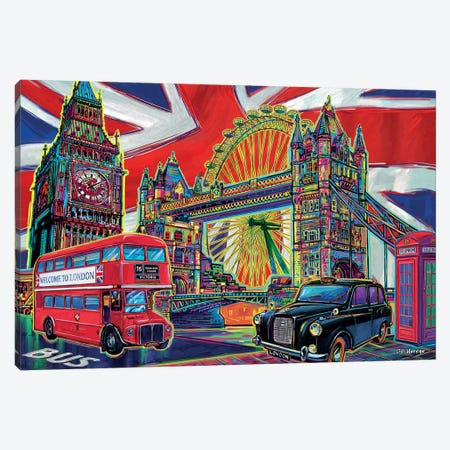 London Pop Art Canvas Print #PDM31} by P.D. Moreno Canvas Wall Art