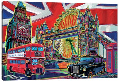 London Pop Art Canvas Art Print