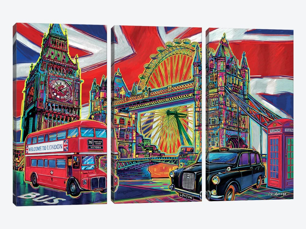 London Pop Art by P.D. Moreno 3-piece Art Print