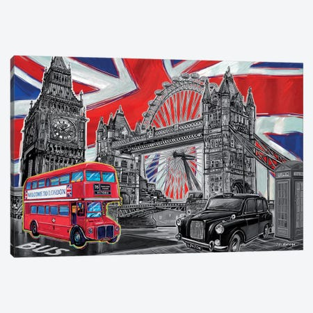 London Pop Art Black & White Canvas Print #PDM32} by P.D. Moreno Canvas Artwork