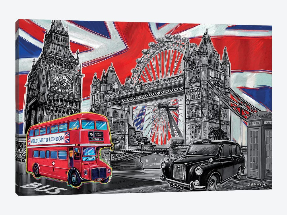 London Pop Art Black & White by P.D. Moreno 1-piece Canvas Wall Art