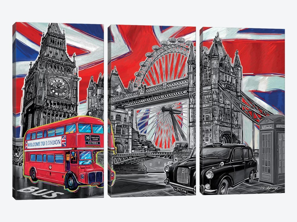 London Pop Art Black & White by P.D. Moreno 3-piece Canvas Wall Art