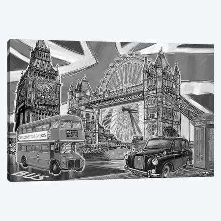 London Pop Art Black & White II Canvas Print #PDM33} by P.D. Moreno Canvas Art