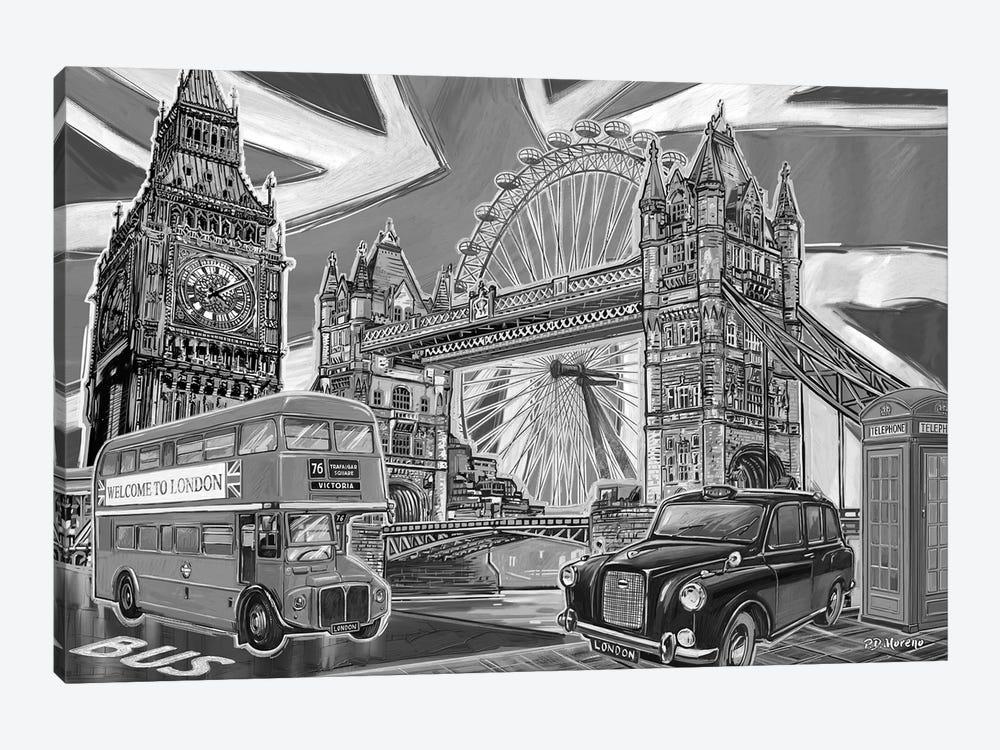 London Pop Art Black & White II by P.D. Moreno 1-piece Canvas Print