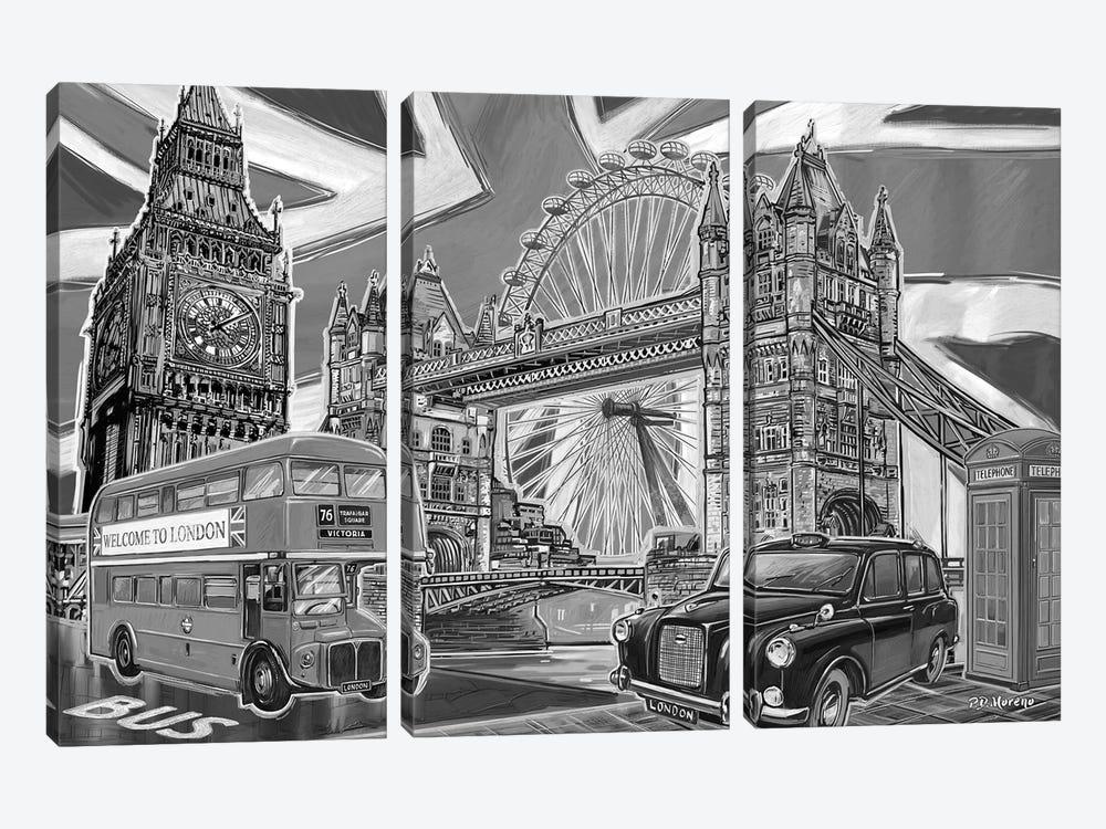 London Pop Art Black & White II by P.D. Moreno 3-piece Canvas Art Print