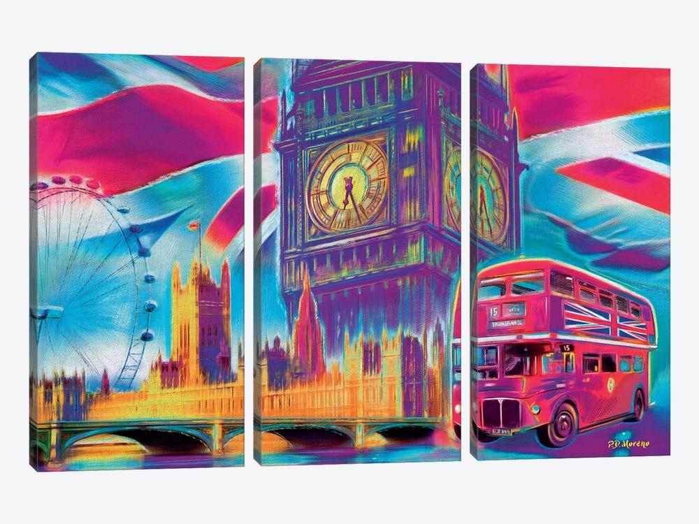 London Pop Colors by P.D. Moreno 3-piece Canvas Artwork