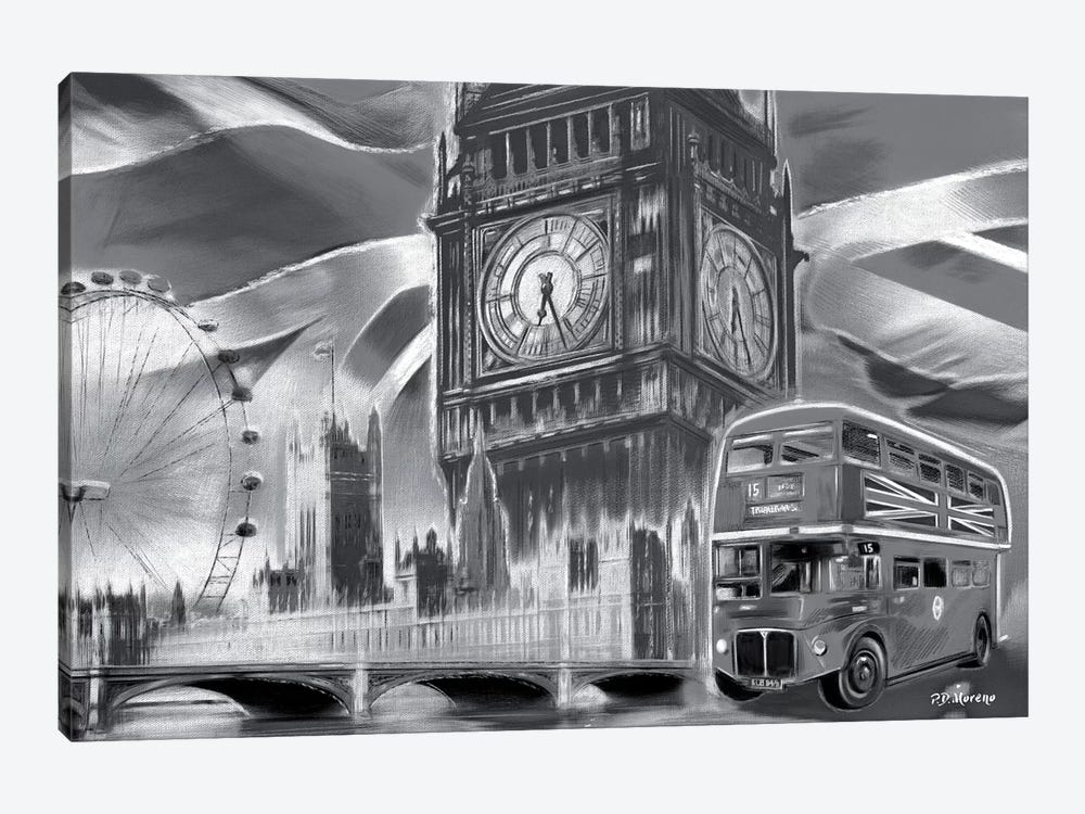 London Pop Colors Black & White by P.D. Moreno 1-piece Canvas Print