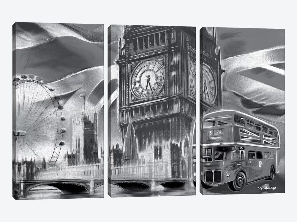 London Pop Colors Black & White by P.D. Moreno 3-piece Canvas Art Print