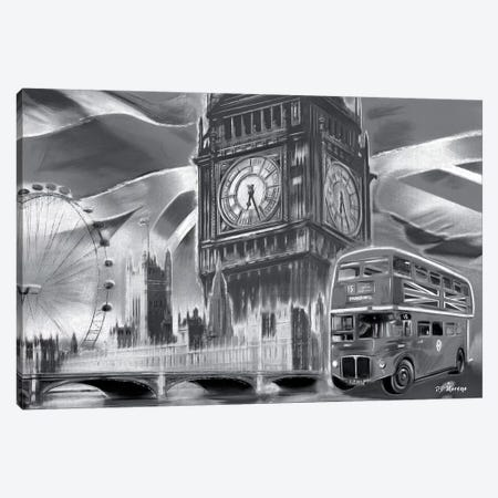London Pop Colors Black & White Canvas Print #PDM35} by P.D. Moreno Canvas Art Print