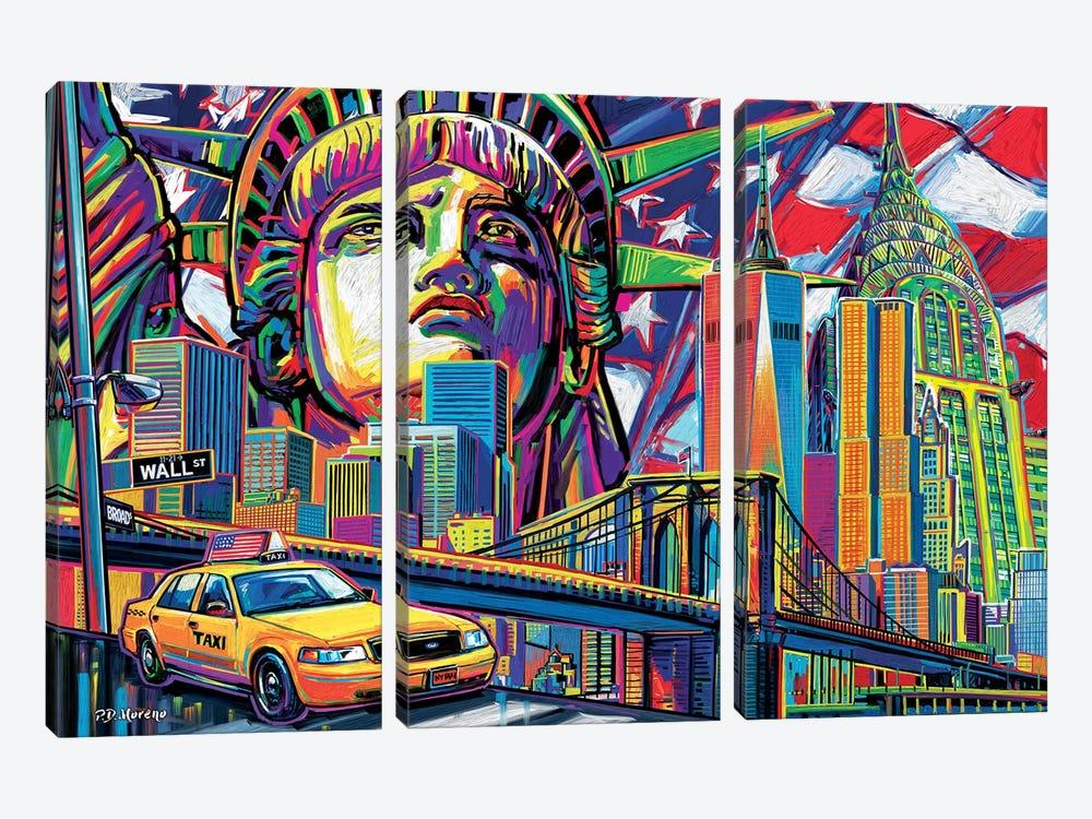 NY Pop Art by P.D. Moreno 3-piece Canvas Wall Art