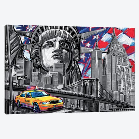 NY Pop Art Black & White Canvas Print #PDM37} by P.D. Moreno Art Print