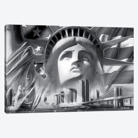 NY Pop Colors Black & White Canvas Print #PDM40} by P.D. Moreno Canvas Art Print