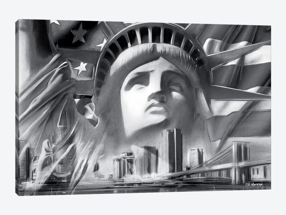 NY Pop Colors Black & White 1-piece Canvas Art Print