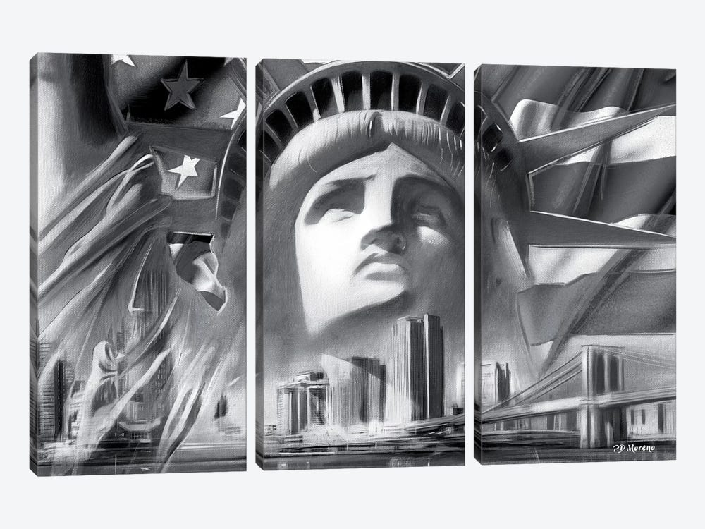NY Pop Colors Black & White by P.D. Moreno 3-piece Art Print