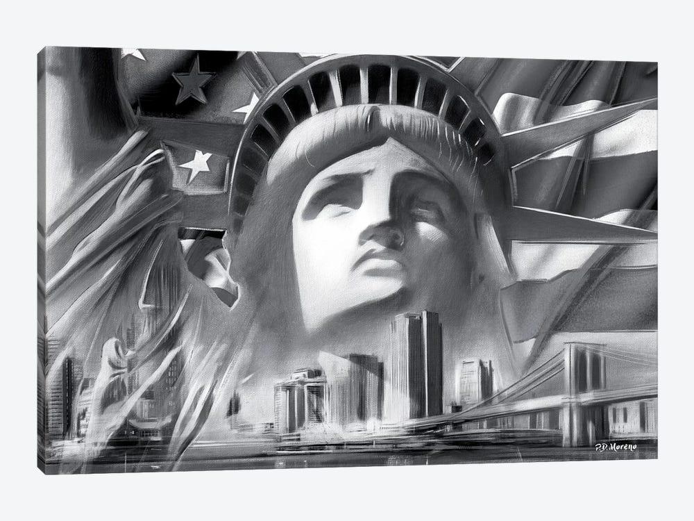 NY Pop Colors Black & White by P.D. Moreno 1-piece Canvas Art Print