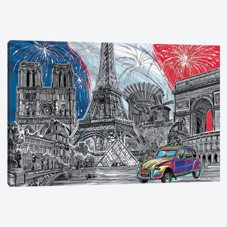 Paris Pop Art Black & White I Canvas Print #PDM42} by P.D. Moreno Canvas Print