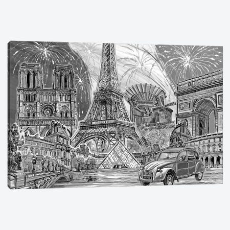 Paris Pop Art Black & White II Canvas Print #PDM43} by P.D. Moreno Canvas Art Print