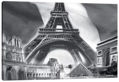 Paris Pop Colors Black & White Canvas Art Print