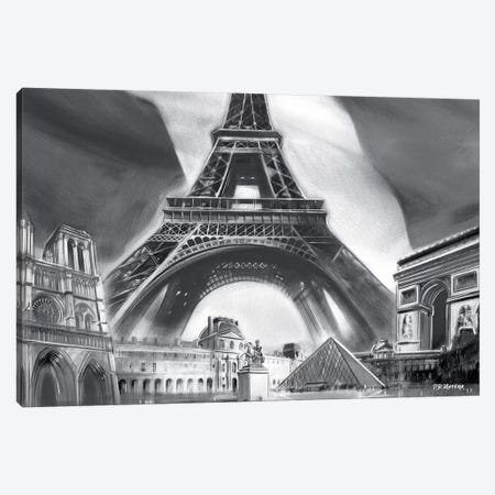 Paris Pop Colors Black & White Canvas Print #PDM45} by P.D. Moreno Canvas Wall Art