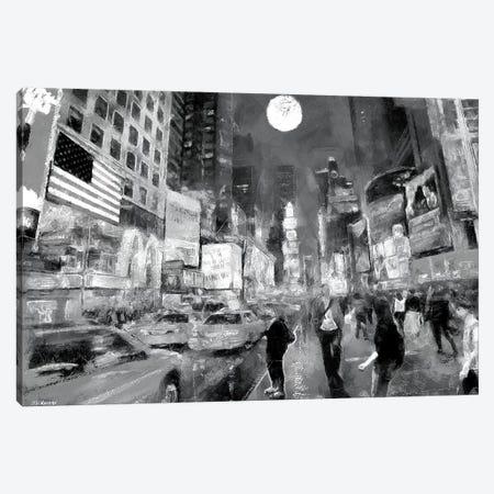 Times Square In Black & White Canvas Print #PDM54} by P.D. Moreno Art Print