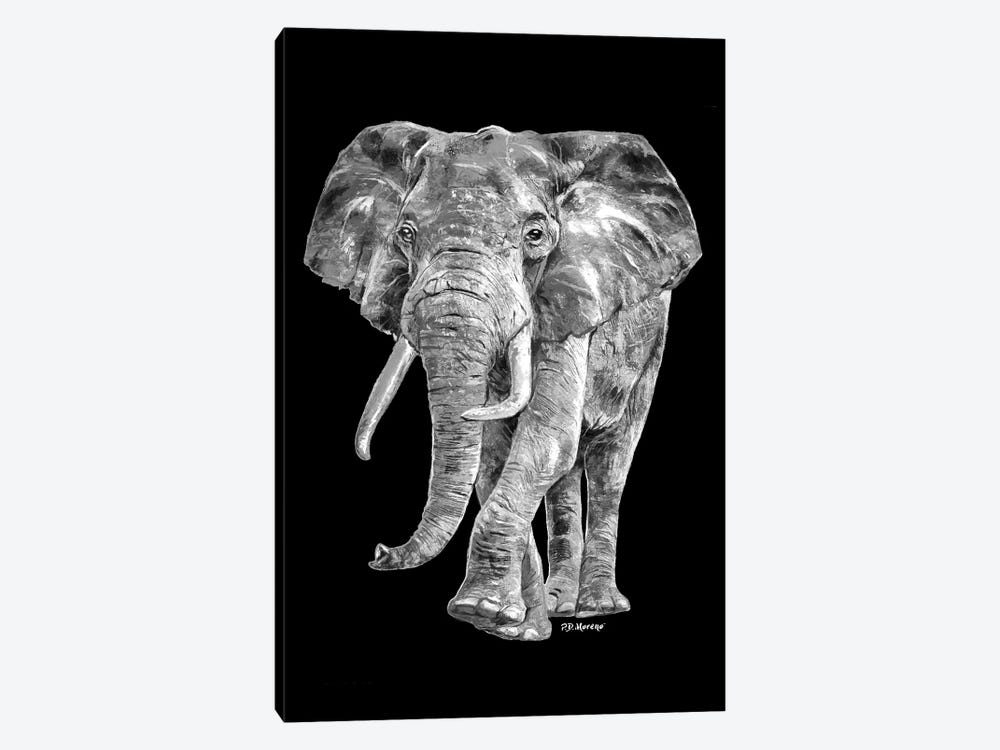 Elephant In Black And White by P.D. Moreno 1-piece Art Print