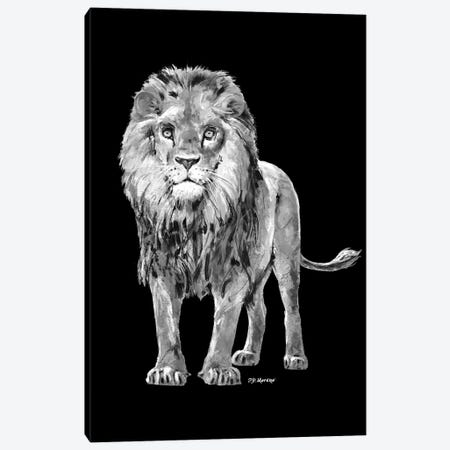 Lion In Black And White Canvas Print #PDM65} by P.D. Moreno Canvas Artwork