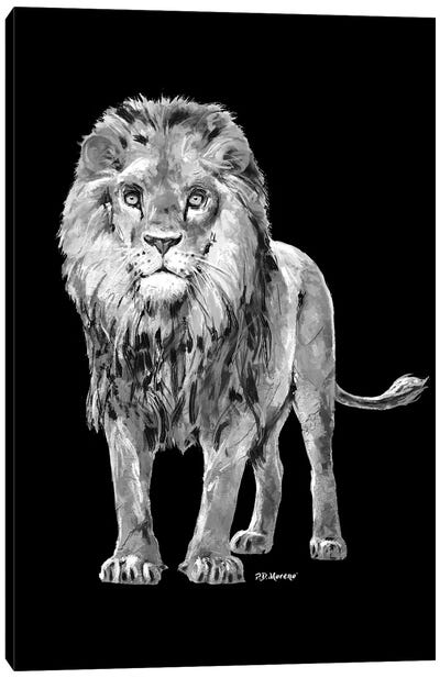 Lion In Black And White Canvas Art Print