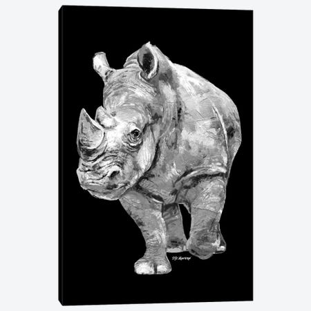 Rhino In Black And White Canvas Print #PDM67} by P.D. Moreno Canvas Wall Art