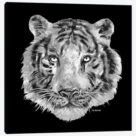 Tiger Head In Black And White Canvas Print #PDM69} by P.D. Moreno Art Print