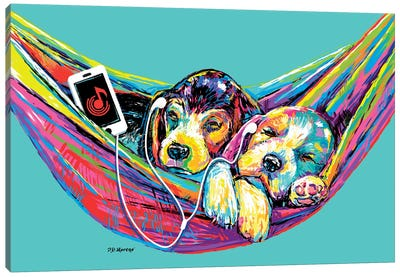 Couple Hammock In Aqua Canvas Art Print