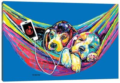Couple Hammock In Blue Canvas Art Print