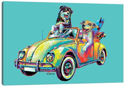 Couple Car In Aqua Canvas Art Print