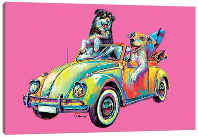 Couple Car In Pink Canvas Art Print