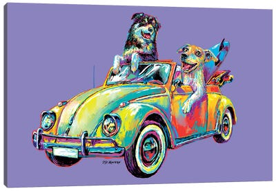 Couple Car In Purple Canvas Art Print