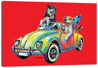 Couple Car In Red Canvas Art Print