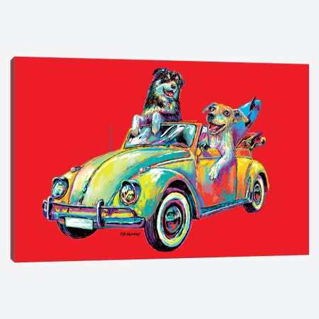 Couple Car In Red Canvas Print #PDM84} by P.D. Moreno Canvas Wall Art