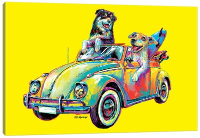 Couple Car In Yellow Canvas Art Print