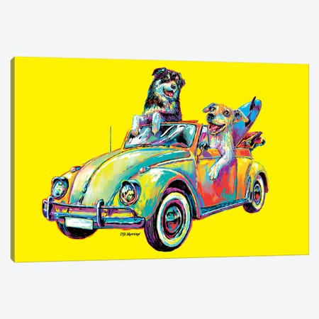 Couple Car In Yellow Canvas Print #PDM85} by P.D. Moreno Canvas Art