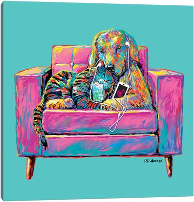 Couple Chair In Aqua Canvas Art Print