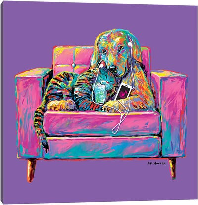 Couple Chair In Purple Canvas Art Print
