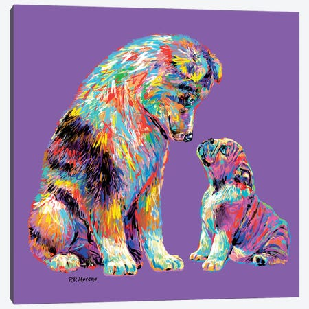 Couple Kiss In Purple Canvas Print #PDM92} by P.D. Moreno Canvas Artwork