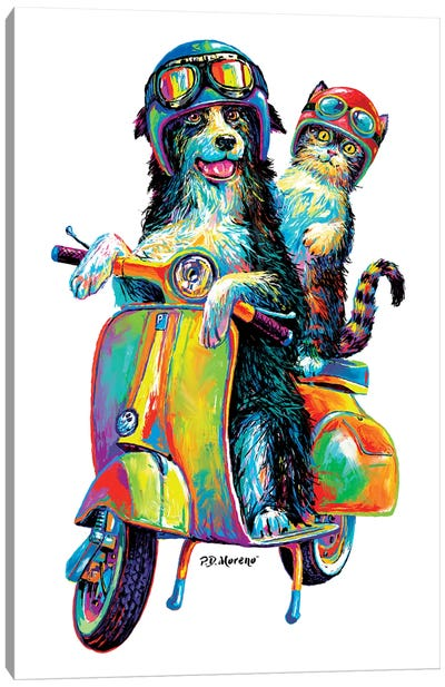 Couple On Scooter Canvas Art Print