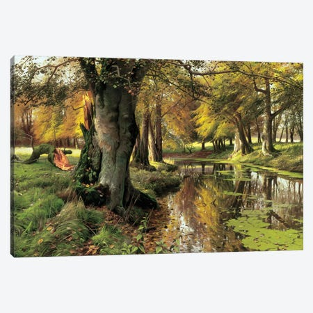 A Woodland Stream Canvas Print #PDR2} by Peder Monsted Art Print